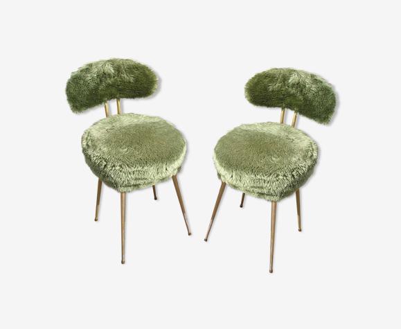 Lot de 2 chaises Pelfran moumoute verte années 70
