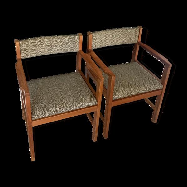 Selency Paire de fauteuils scandinaves teck et tweed vintage