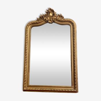 Miroir Louis Philippe chapeau de gendarme ancien doré fronton 83x132cm