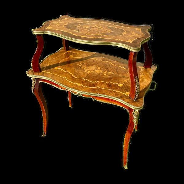 Table à thé en marqueterie Style Louis XV