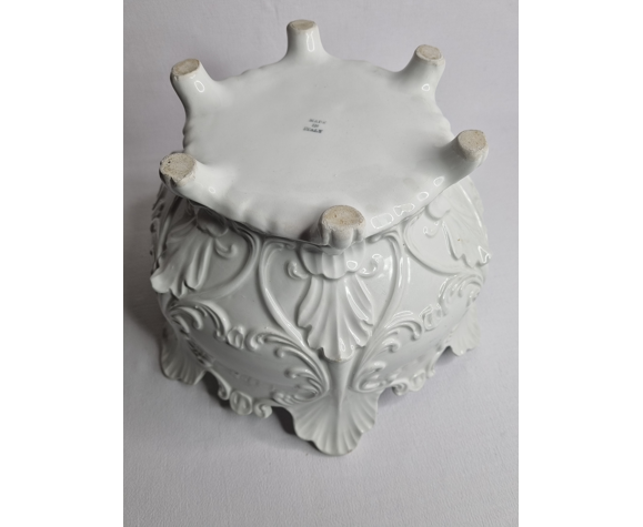 Cache pot en céramique blanche émaillée