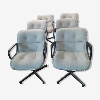 Set de 6 fauteuils de Charles Pollock editeur Knoll international