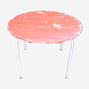 Table de jardin ronde bois et métal