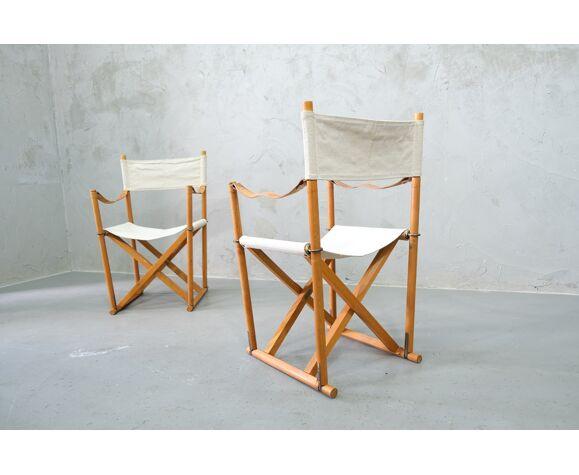 Une paire de fauteuils Safari pliables DANOIS MK 16 de Mogens Koch pour Cado, années 1950