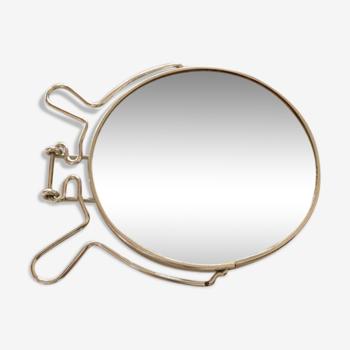 Miroir barbier rond à poser ou à suspendre 16x18cm
