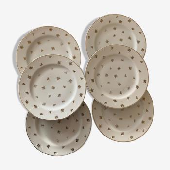 Set de 6 assiettes à dessert doré en porcelaine de Limoge vintage