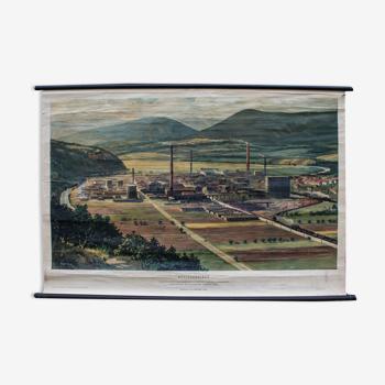 Vieille carte scolaire châine de montagne basse 122 x 81 cm