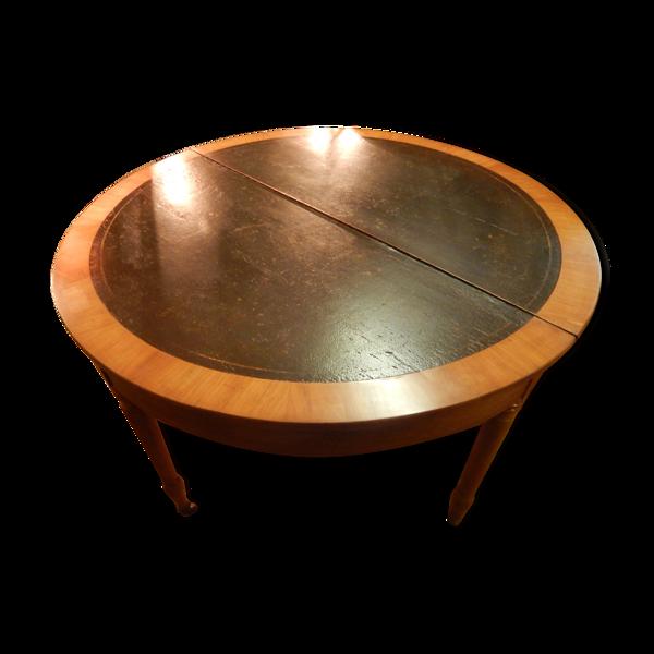 Table demi-lune Napoléon III en merisier et cuir