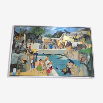 Affiche scolaire oge hachette double face  le zoo  l'aérogare