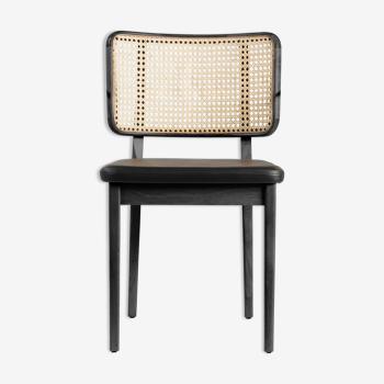 Chaise cannage bois noir cuir noir Red Edition