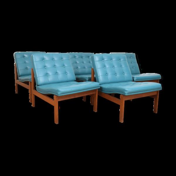Ensemble de cinq fauteuils conçus dans les années 1960 par Ole Gjerløv-Knudsen & Torben Lind