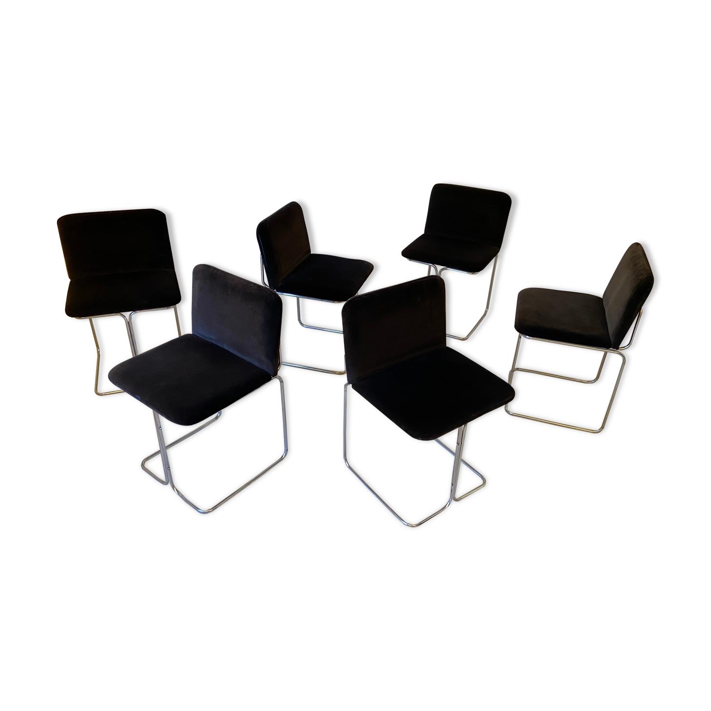 Lot de 6 chaises design Italien 1970