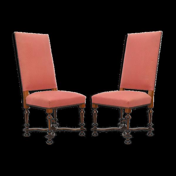 Paire de chaises à dossier haut de style Louis XIV