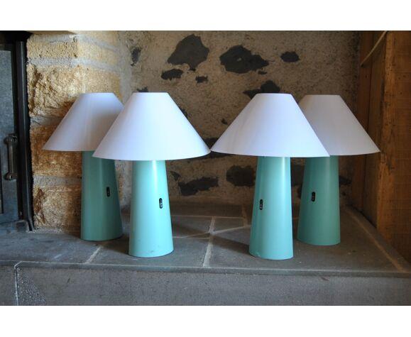 Lot de 4 appliques bleu vert Arlus Ibiza années 80