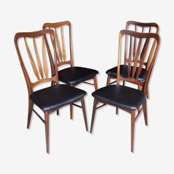 4 chaises Ingrid de Niels Koefoed en palissandre de rio