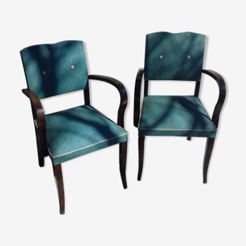 """Lot de 2 fauteuils verts """"bridge moustache"""""""