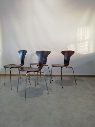 Mid Century 3105 Myggen / Chaises Mosquito par Arne Jacobsen pour Fritz Hansen, set de 4