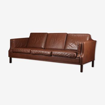 Canapé danois en cuir brun 3 places