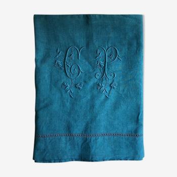 Drap ancien en pur lin lavé bleu aquatique