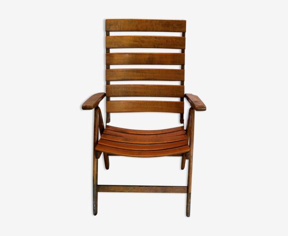 Chaise pliante en bois Fisher Möbel, 1970.