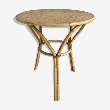 Table d'appoint en rotin vintage 60's