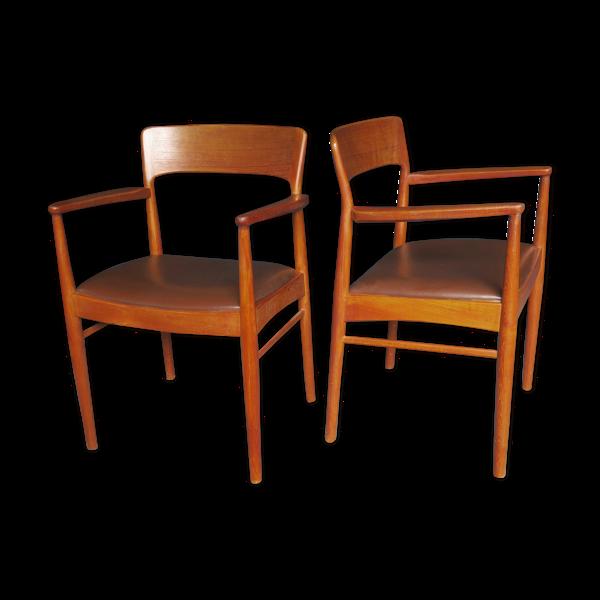 Paire de fauteuils en teck et sculpteur en cuir du milieu du siècle danois 1960