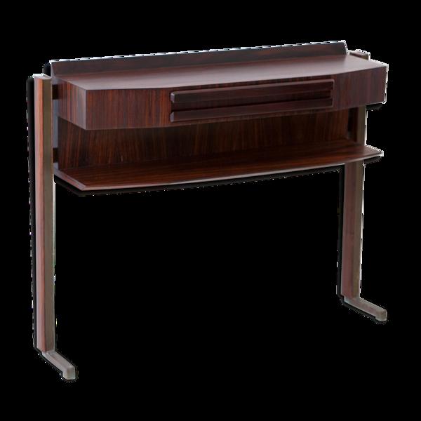Console moderne italienne du milieu du siècle en bois de rose et laiton