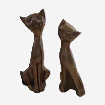 Couple de chats en laiton