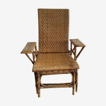 Fauteuil chaise longue de jardin en rotin