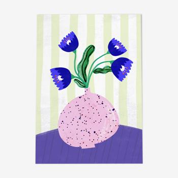 Illustration «vase de fleur avec des fleurs abstraites bleues»