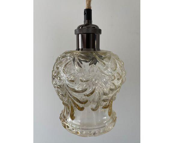 Lampe baladeuse vintage en verre moulé pressé électrifiée à neuf