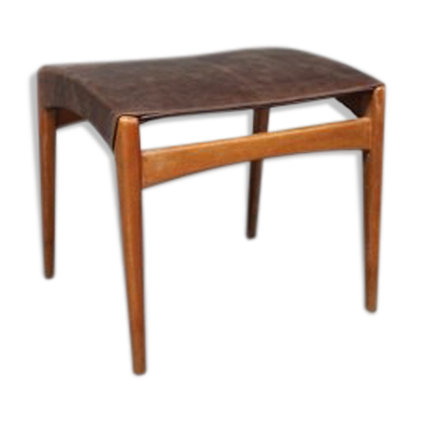 Stool in polished wood and patinated leather 1960