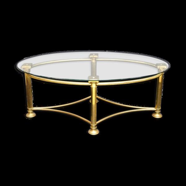 Table basse ovale en laiton et verre 1970