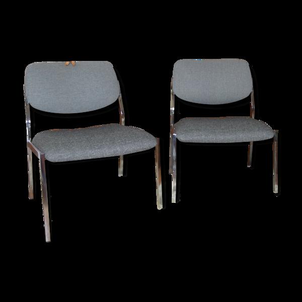 Paire de fauteuils des années 60 chromé restaurés