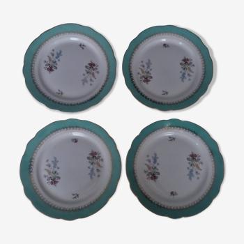 Série de quatre assiettes plates faïence Sarreguemines modèle Chenonceaux