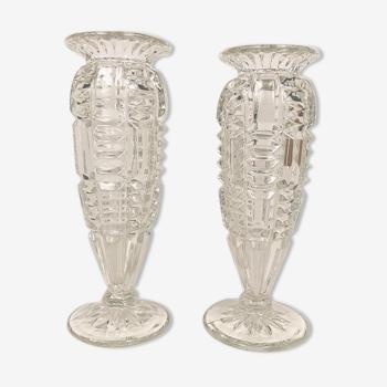 Paire de vases en verre forme balustre