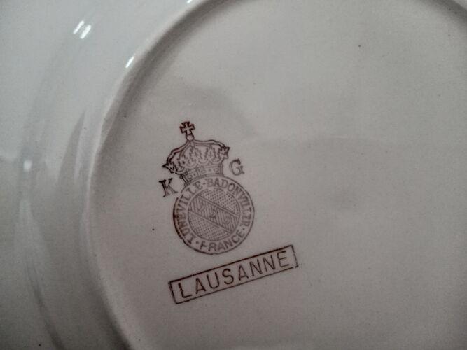 Lot de 6 assiettes à dessert Lunéville Badonviller modèle Lausanne