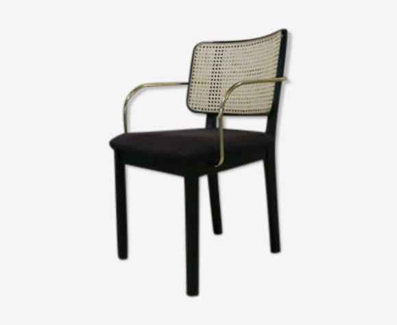 Chaise cannage noir  accoudoir velours gris chic