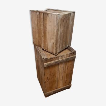 Lot de deux caisses bois