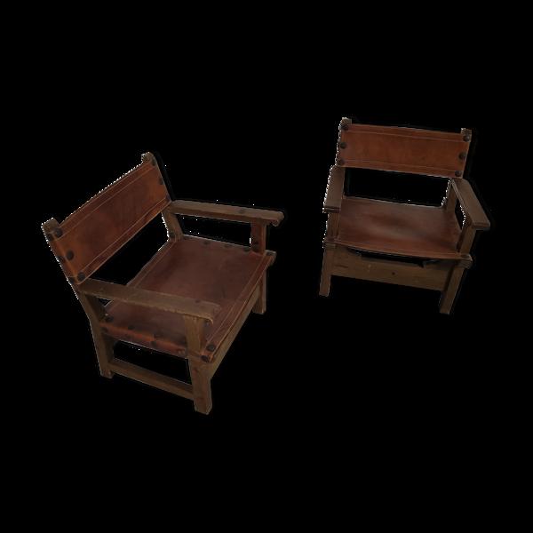 Selency Paire de fauteuils Espagnols vintage cuir 1920/1930