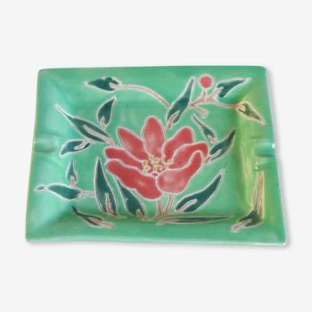 Cendrier en faïence vert et corail motifs de fleurs années 60