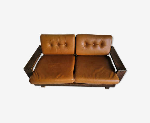 Canapé brutaliste vintage cuir camel 2/3 places