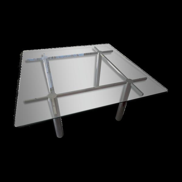 Table design en verre et métal