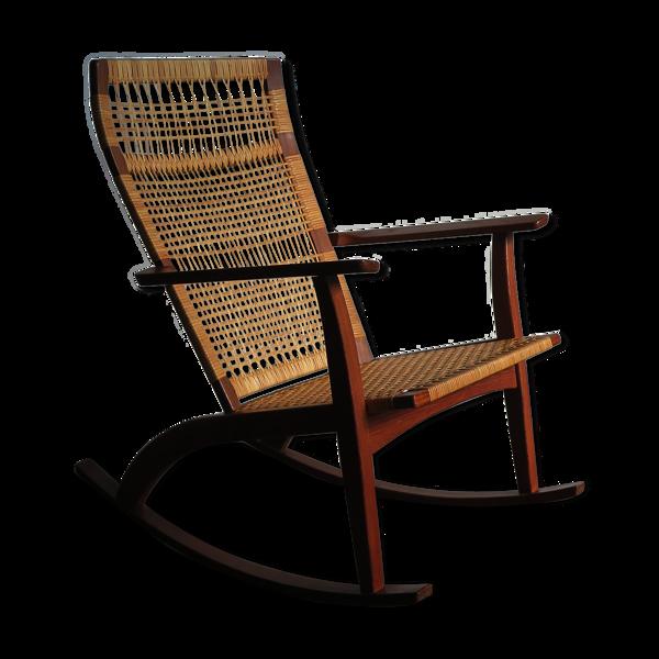 Rocking-chair scandinave Hans Olsen pour juul Kristensen années 1950