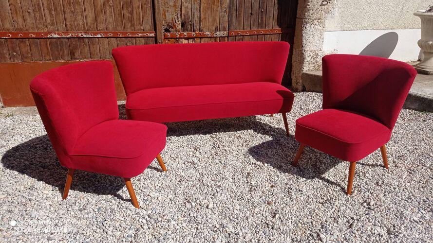 Ensemble canapé et fauteuils cocktail
