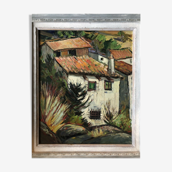 Toits en Provence  peinture vers 1950 signée Vaudiau