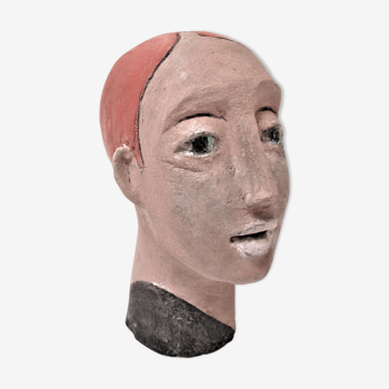 Redheaded boyish woman modeled in earth signed 60/70 years