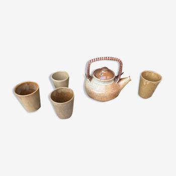 Théière et ses tasses en grès Digoin