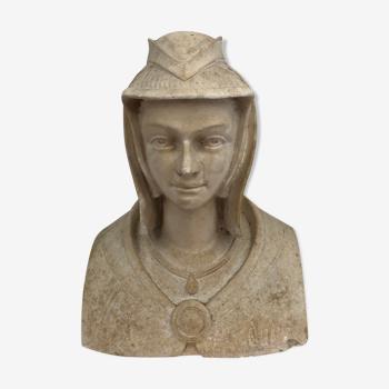 Buste en plâtre patinée  «Anne de Bretagne» XXème.