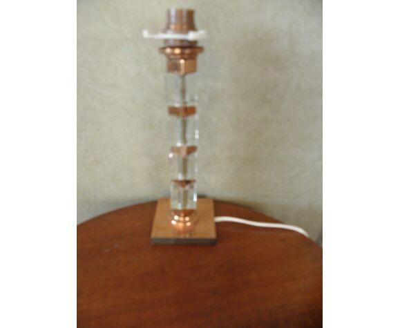Lampe de table verre cuivre